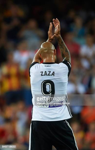 Simone Zaza of Valencia greets the public during the La Liga match between Valencia and Malaga at Estadio Mestalla on September 19 2017 in Valencia...