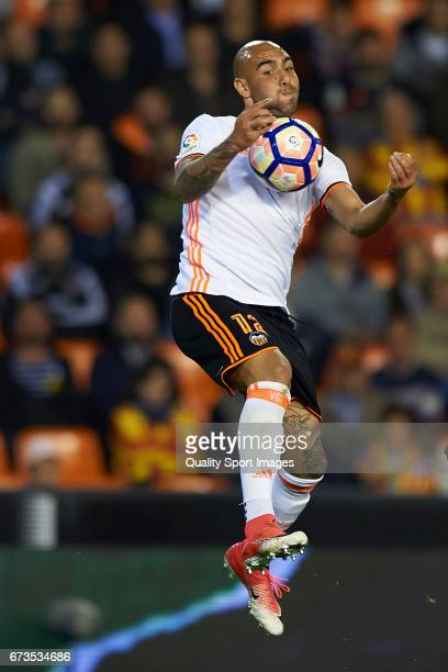 Simone Zaza of Valencia in action during the La Liga match between Valencia CF and Real Sociedad de Futbol at Mestalla Stadium on April 26 2017 in...