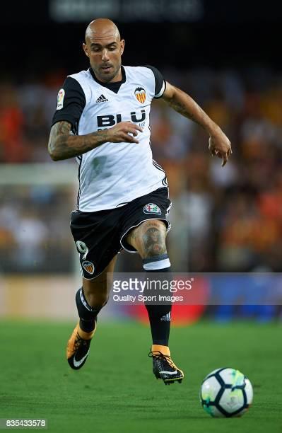 Simone Zaza of Valencia in action during the La Liga match between Valencia and Las Palmas at Estadio Mestalla on August 18 2017 in Valencia