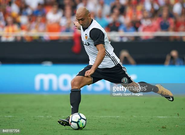 Simone Zaza of Valencia in action during the La Liga match between Valencia and Atletico Madrid at on September 9 2017 in Valencia