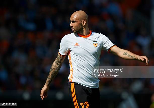 Simone Zaza of Valencia looks on during the La Liga match between Valencia CF and Real Sporting de Gijon at Mestalla Stadium on March 11 2017 in...