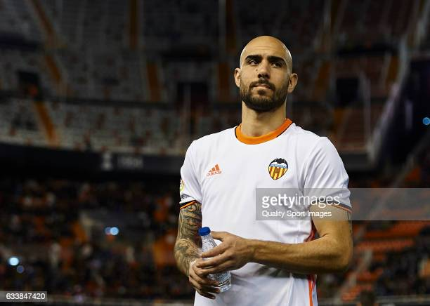 Simone Zaza of Valencia looks on prior the La Liga match between Valencia CF and SD Eibar at Mestalla Stadium on February 4 2017 in Valencia Spain