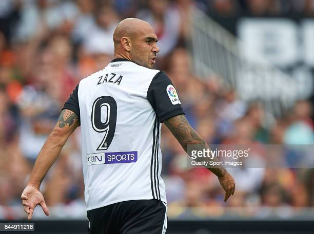 Simone Zaza of Valencia reacts during the La Liga match between Valencia and Atletico Madrid at on September 9 2017 in Valencia Spain