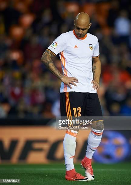 Simone Zaza of Valencia reacts during the La Liga match between Valencia CF and Real Sociedad de Futbol at Mestalla Stadium on April 26 2017 in...