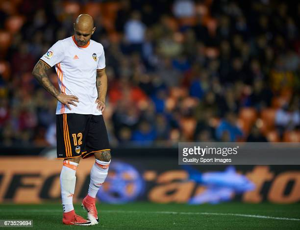 Simone Zaza of Valencia reacts during the La Liga match between Valencia CF and Real Sociedad de Futbol at Mestalla Stadium on April 26 2017 in...