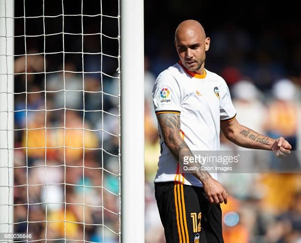 Simone Zaza of Valencia reacts during the La Liga match between Valencia CF and CA Osasuna at Mestalla Stadium on May 7 2017 in Valencia Spain