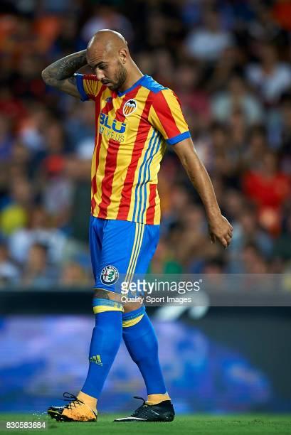 Simone Zaza of Valencia reacts during the preseason friendly match between Valencia CF and Atalanta BC at Estadio Mestalla on August 11 2017 in...