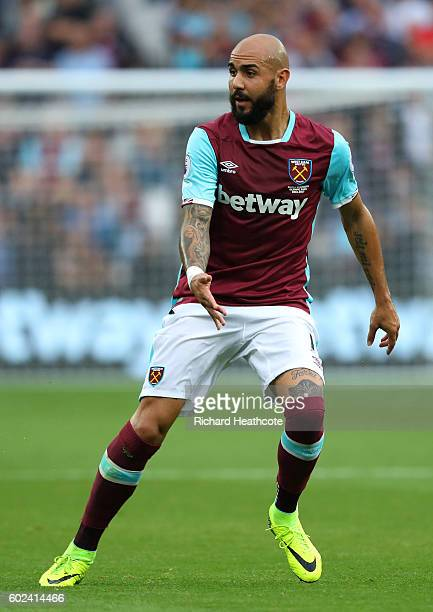 Simone Zaza of West Ham in action during the Premier League match between West Ham United and Watford at the Olympic Stadium on September 10 2016 in...