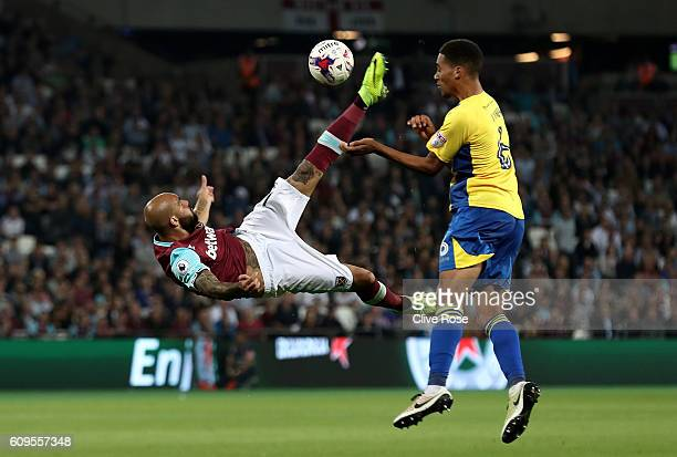 Simone Zaza of West Ham United attepmts an over head kick during the EFL Cup Third Round match between West Ham United and Accrington Stanley at the...