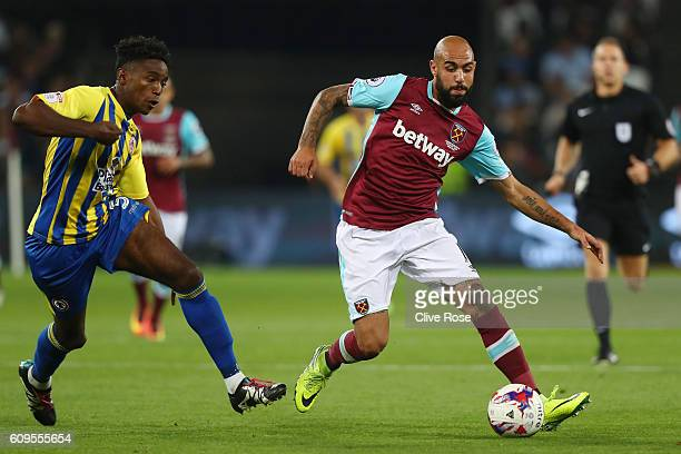 Simone Zaza of West Ham United in action during the EFL Cup Third Round match between West Ham United and Accrington Stanley at the London Stadium on...