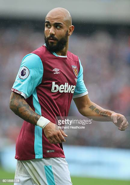 Simone Zaza of West Ham United in action during the Premier League match between West Ham United and Watford at Olympic Stadium on September 10 2016...