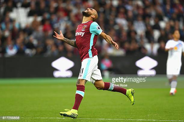 Simone Zaza of West Ham United reacts during the Premier League match between West Ham United and Sunderland at Olympic Stadium on October 22 2016 in...