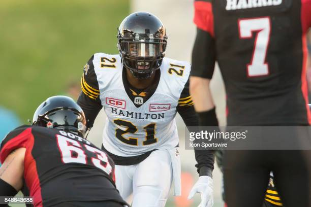 Simoni Lawrence of the Hamilton TigerCats in Canadian Football League Action at TD Place Stadium in Ottawa Canada on Saturday September 9 2017 The...
