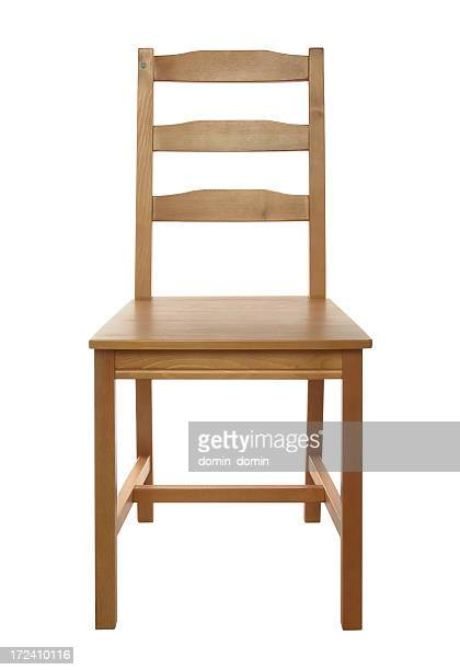 Simple, classical wooden chair isolated on white background, studio shot