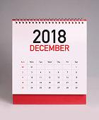Simple desk calendar for December 2018