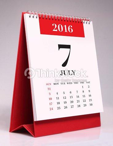 simple desk calendar july 2016 stock photo thinkstock