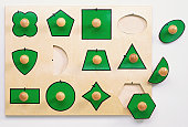 Simple form board with holes for three differently shaped blocks