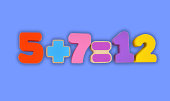 Simple mathematic example made from wooden blocks toy. Numbers and signs isolated with path.