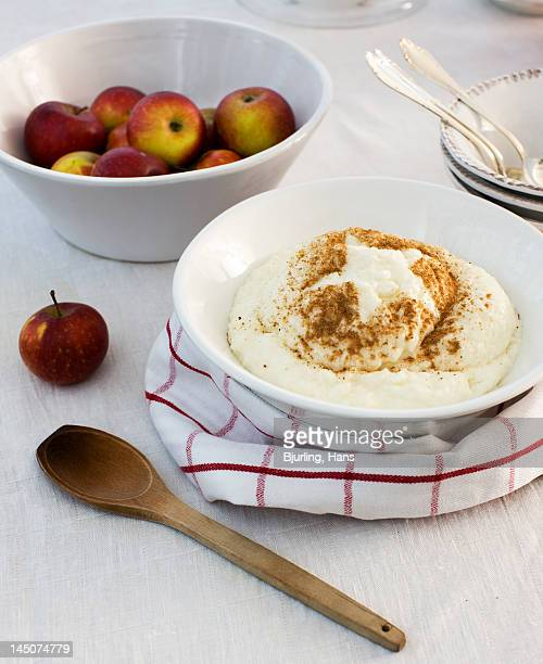 Simple meal with apples and cottage cheese on table