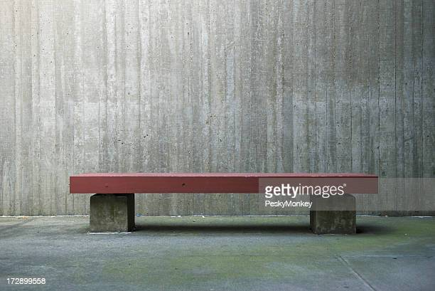 Simple Modern Red Bench Concrete Wall