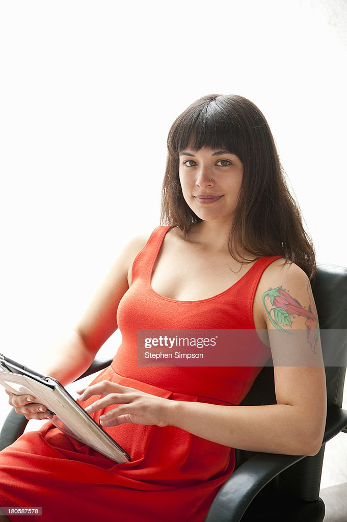 simple portrait, businesswoman with tablet : Stock Photo