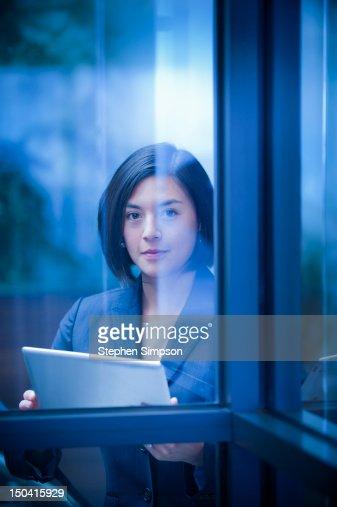 simple portrait, businesswoman w/tablet computer : Stock Photo