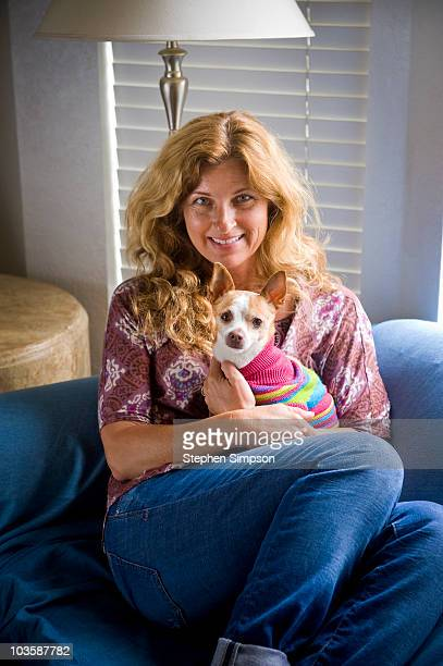 simple portrait, woman and her Chihuahua