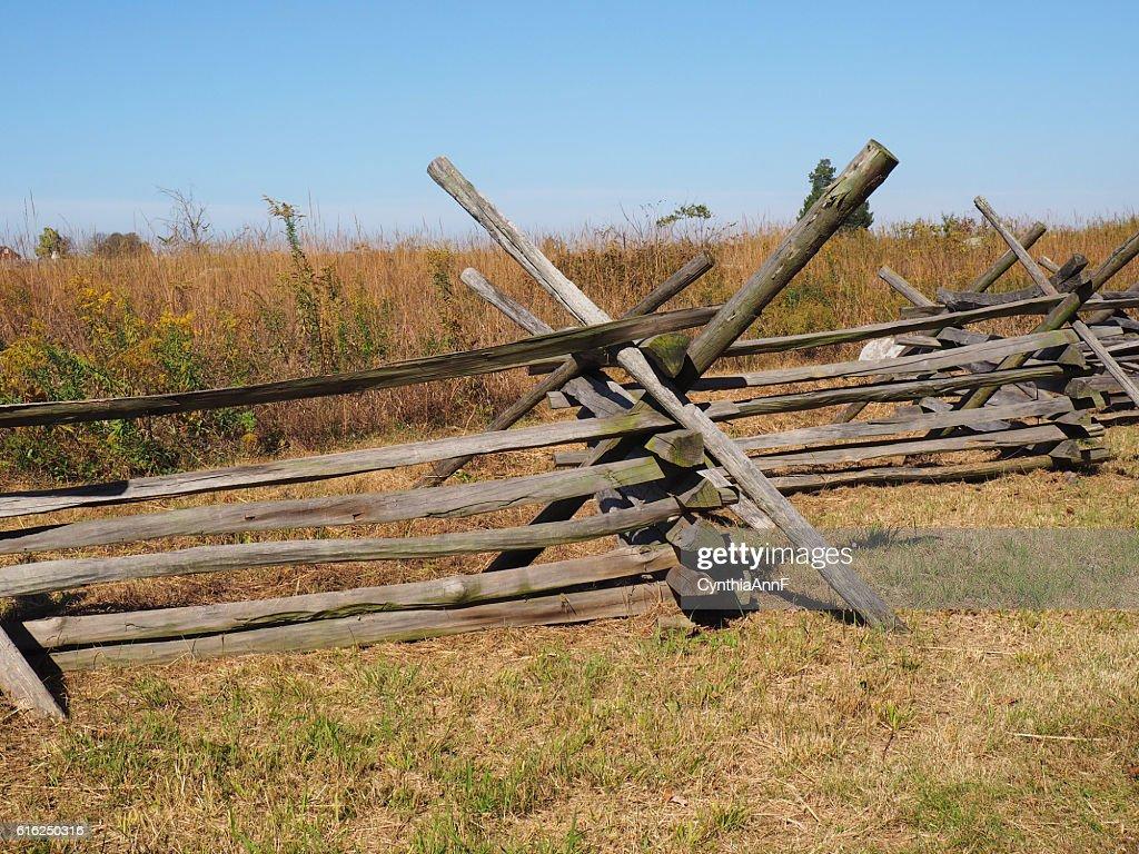 simple wood fence in Gettysburg : Foto de stock