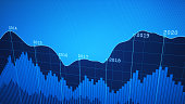 A simple financial report showing a graph line plotted on a dark blue pixilated background.