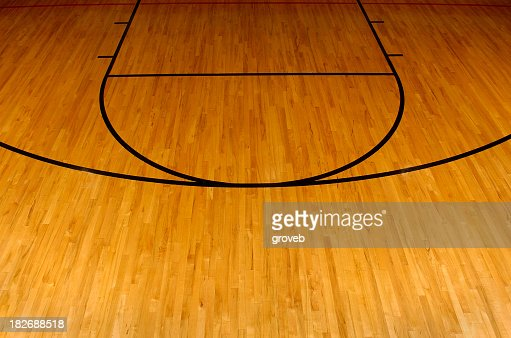 Simplistic aerial view of a basketball court