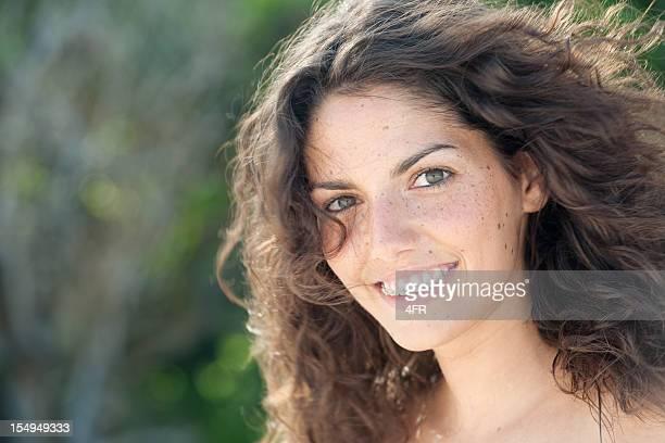 Basta bonito adolescente com Freckles & chavetas, espontânea Retrato (XXXL