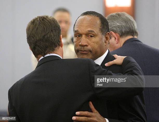 J Simpson and his Defense Attorney Yale Galanter embrace after a guilty verdict was read during his trial at the Clark County Regional Justice Center...