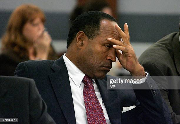 OJ Simpson appears in court for a preliminary hearing at the Clark County Regional Justice Center 09 November 2007 in Las Vegas Nevada Simpson is...