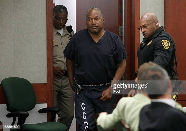 J Simpson arrives at an evidentiary hearing in Clark County District Court May 16 2013 in Las Vegas Nevada Simpson who is currently serving a nine to...