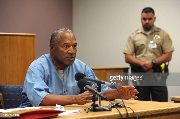 J Simpson attends his parole hearing at Lovelock Correctional Center July 20 2017 in Lovelock Nevada Simpson is serving a nine to 33 year prison term...