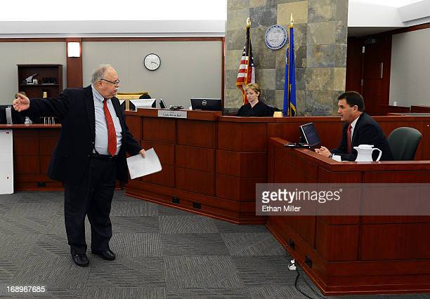 J Simpson lawyer Tom Pitaro questions former OJ Simpson defense attorney Yale Galanter as Judge Linda Marie Bell looks on during an evidentiary...
