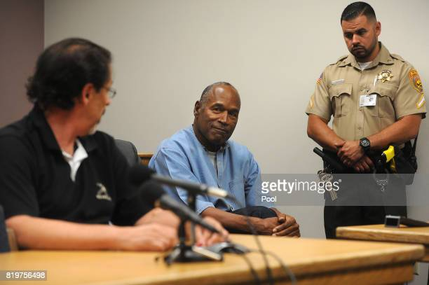 J Simpson makes eye contact with Bruce Fromong attends during his parole hearing at Lovelock Correctional Center July 20 2017 in Lovelock Nevada...