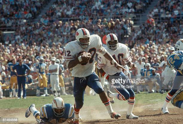 J Simpson of the Buffalo Bills runs during a game against the San Diego Chargers in San Diego California