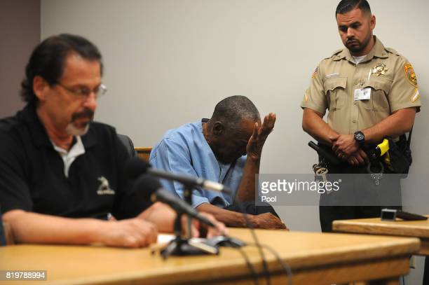J Simpson reacts during the testimony of Bruce Fromong during his parole hearing at Lovelock Correctional Center July 20 2017 in Lovelock Nevada...