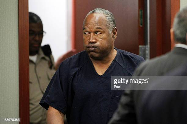 J Simpson returns to the courtroom after a lunch break during the fifth day of an evidentiary hearing in Clark County District Court on May 17 2013...