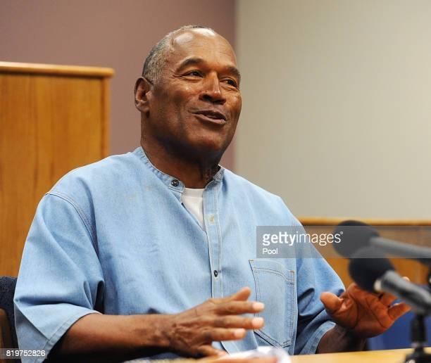 J Simpson speaks during his parole hearing at Lovelock Correctional Center July 20 2017 in Lovelock Nevada Simpson is serving a nine to 33 year...