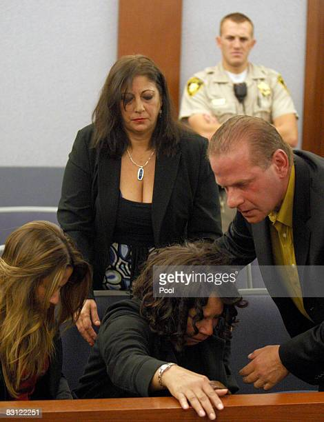 J Simpson supporters from left Sabrina Scotto Sandra Scotto his sister Carmelita Durio and Tom Scotto start to leave court after Simpson was found...