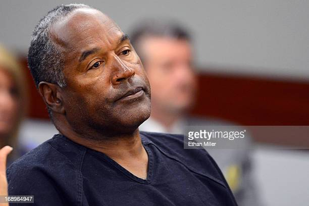 J Simpson watches his former defense attorney Yale Galanter testify during an evidentiary hearing in Clark County District Court on May 17 2013 in...