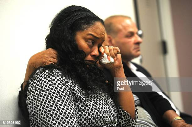 J Simpson's sister Arnelle Simpson reacts during his parole hearing at Lovelock Correctional Center July 20 2017 in Lovelock Nevada Simpson is...