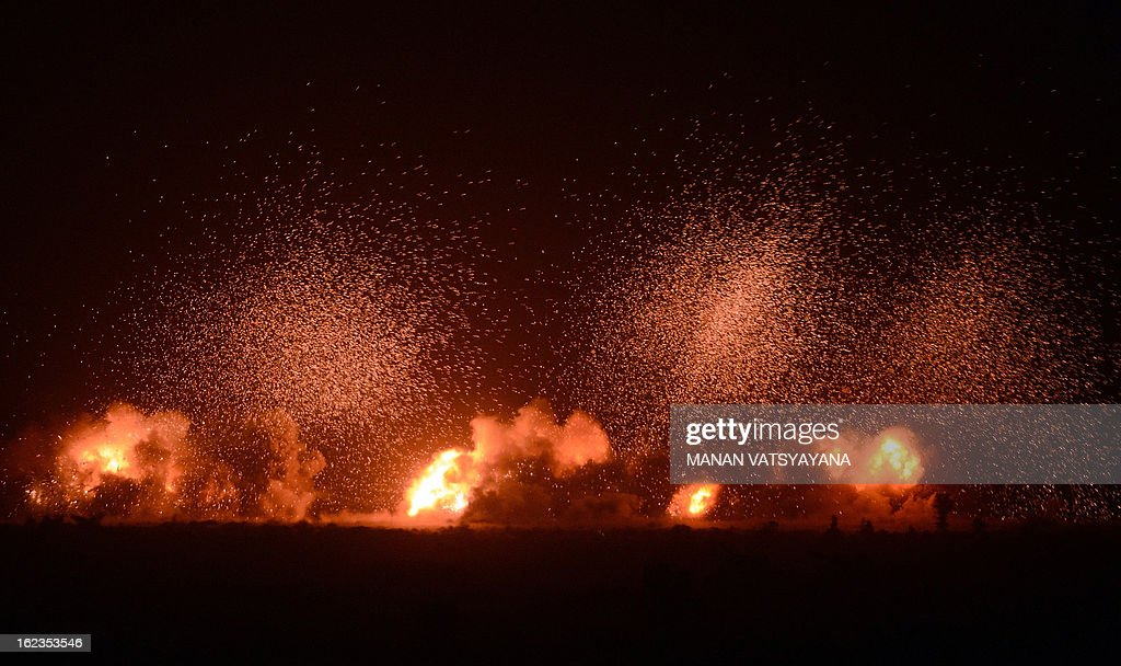A simulated target is destroyed in a night exercise during the Iron Fist 2013 in Pokhran on February 22, 2013. IAF held the Iron Fist 2013 exercise to showcase its operational capabilities during day, dusk and night, taking out simulated targets with precison laser-guided weaponry.