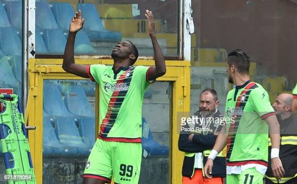 Simy Nwankwo celebrates after scoring 12 during the Serie A match between UC Sampdoria and FC Crotone at Stadio Luigi Ferraris on April 23 2017 in...