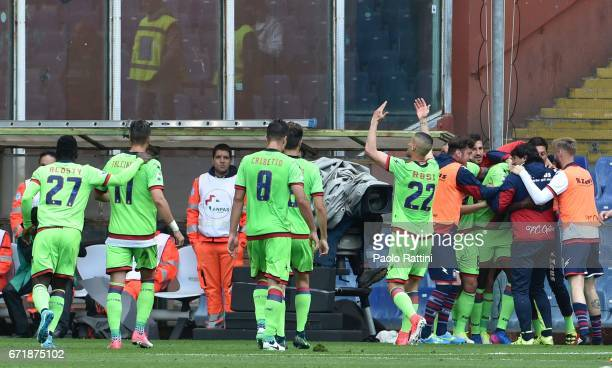 Simy Nwankwo celebrates with teammates after scoring 12 during the Serie A match between UC Sampdoria and FC Crotone at Stadio Luigi Ferraris on...