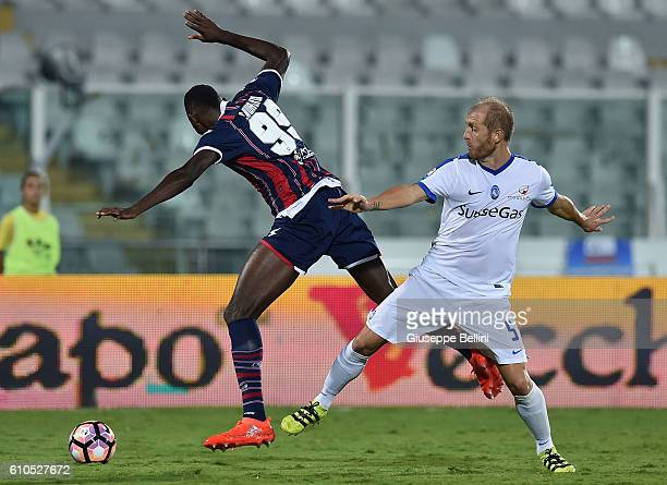 Simy of FC Crotone and Andrea Masiello of Atalanta BC in action during the Serie A match between FC Crotone and Atalanta BC at Adriatico Stadium on...