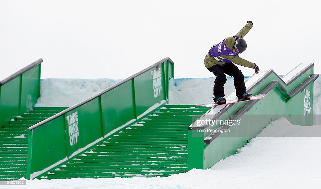 <a gi-track='captionPersonalityLinkClicked' href=/galleries/search?phrase=Sina+Candrian&family=editorial&specificpeople=6837040 ng-click='$event.stopPropagation()'>Sina Candrian</a> of Switzerland competes during the FIS Snowboarding World Cup 2015 Ladies' Snowboard Slopestyle Final during the U.S. Grand Prix at Park City Mountain on February 27, 2015 in Park City, Utah.