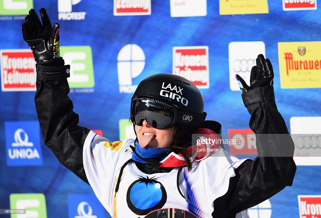 <a gi-track='captionPersonalityLinkClicked' href=/galleries/search?phrase=Sina+Candrian&family=editorial&specificpeople=6837040 ng-click='$event.stopPropagation()'>Sina Candrian</a> of Switzerland reacts during the Women's Snowboard Slopestyle Final of the FIS Freestyle Ski and Snowboard World Championship 2015 on January 21, 2015 in Kreischberg, Austria.